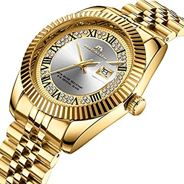 MEGALITH Mens Gold Watches Men Classic Dress Designer Waterproof Date Stainless Steel Wrist Watch Business Fashion…