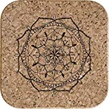 Azeeda 4 x Mandala Decorativo Posavasos de Corcho Cuadrados de 10cm (CR00150034)