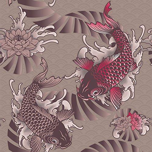 murando - Vlies Tapete - Deko Panel Fototapete - Wandtapete - Wand Deko - 10 m Tapetenrolle - Mustertapete - Wandtapete - modern design - Dekoration - Asien Koi p-A-0001-j-b