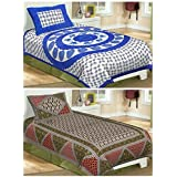 Single Combo Bedsheet (Suraaj Fashion 100% Cotton Set Of 2 Single Bedsheet With 2 Pillow Covers)