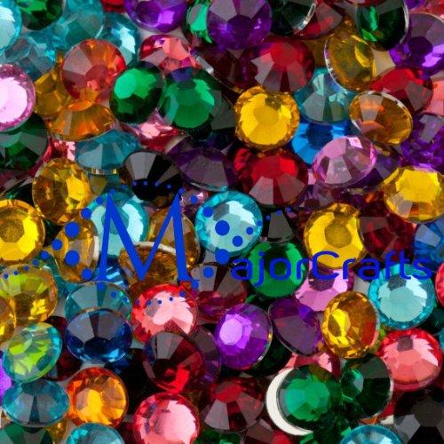 MajorCrafts 1,000pcs Mixed Colours 5mm ss20 Flat Back Resin Rhinestones, Beads, Gems