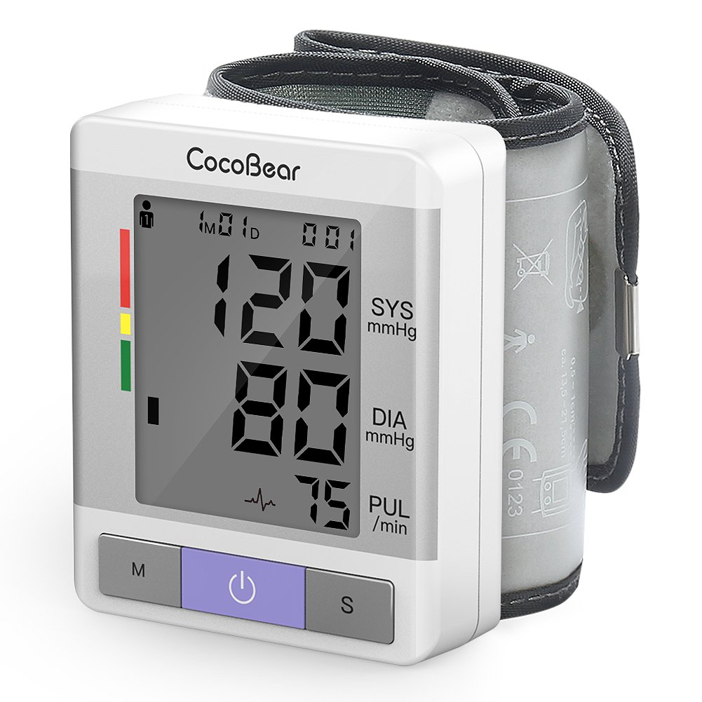 CocoBear Wrist Blood Pressure Monitor, Digital Automatic Measure Blood  Pressure Machines for Home Use, Large LCD Screen Display, Portable Blood