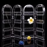 #8: Kurtzy Clear Acrylic Folding Earring Hook Stand Display Holder and Organizer