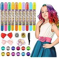 WOSTOO Pelo Tiza, 10Colores Colorful temporales Pelo Tiza, Pelo färben para Todos los Pelo, Navidad, Carnaval, Chica Joven