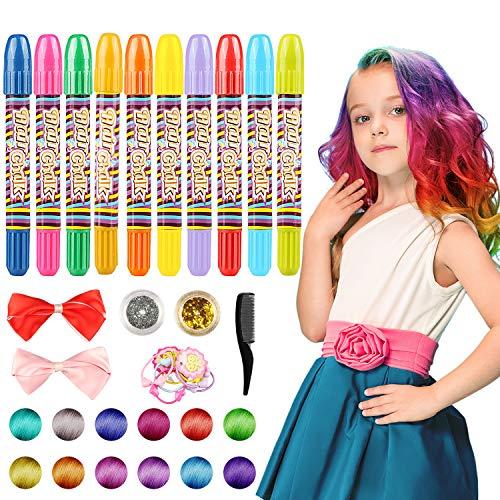 WOSTOO Haarkreide, 10 Farben Colorful Temporäre Haarkreide, Haare färben für alle Haare, Weihnachten,Karneval, Mädchen Jungen