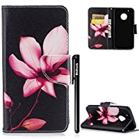 BtDuck Leather Case for Motorola Moto G5 Plus PU Stand Painted pattern Phone Protector PU Leather Flip Folio Cover Anti-slip Skin Outdoor Protection Shockproof Anti-scratch Slim-fit Case Wallet Shell with Stander Oyster ID Card ( Travel Card Bus Pass ) Holder Slots Pocket Kickstand Function Magnetic Closure + 1 * Black Stylus Pen Black