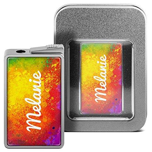 Feuerzeug mit Namen Melanie - personalisiertes Gasfeuerzeug mit Design Color Paint - inkl. Metall-Geschenk-Box 3