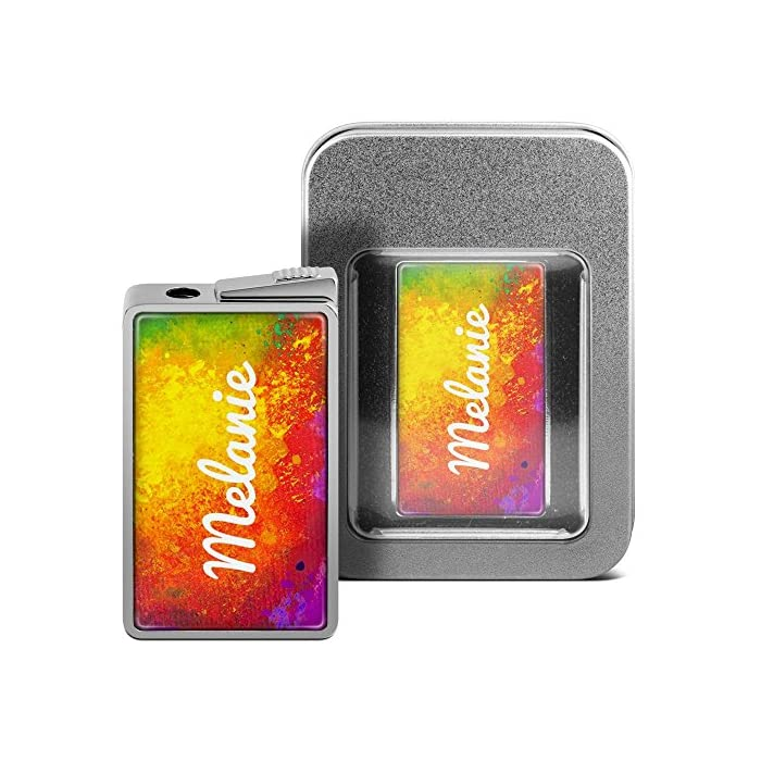 Feuerzeug mit Namen Melanie - personalisiertes Gasfeuerzeug mit Design Color Paint - inkl. Metall-Geschenk-Box
