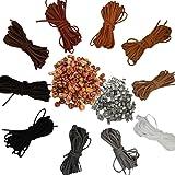 50 Metri 10 Colori Corda in Pelle per Collane Cordoncino Cordino Cordono in Cuoio 3mm×5m 100 Terminali 100 Perline di Legno C
