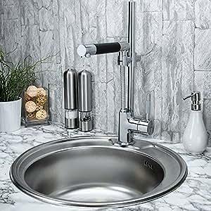 Lavello da cucina in acciaio inox rotondo da incasso del diametro di 49 cm fai da te - Lavello cucina rotondo ...