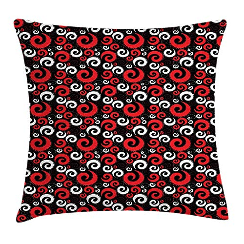 XIAOYI Abstract Throw Pillow Cushion Cover, Modern Pattern with Swirl Shapes and Dots Spirals Vintage Style, Decorative Square Accent Pillow Case, 18 X 18 Inches, Vermilion Black and White -