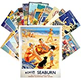 24 Postkarten Vintage Travel Posters Beach Holidays