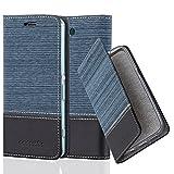 Cadorabo Hülle für Sony Xperia Z3 COMPACT - Hülle in DUNKEL BLAU SCHWARZ – Handyhülle mit Standfunktion und Kartenfach im Stoff Design - Case Cover Schutzhülle Etui Tasche Book