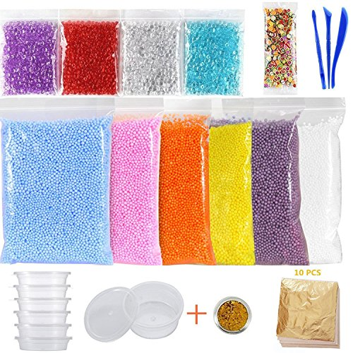 Kinxor 15 Pack Slime Making Kit, Fishbowl Beads, Foam Balls, Slime Storage Containers, Imitation Gold Leaf Foil Paper, Glitter Shake Jars, Fruit Slices, DIY Art Craft for Homemade Slime -
