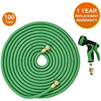 ANSIO Garden Hose Pipe Expandable Water Hose 100 Ft/30M with Brass Connectors, 9 Function Spray, Flexible Anti-Kink for Home, Garden, Patio and Car cleaning - 1 Year Replacement Warranty