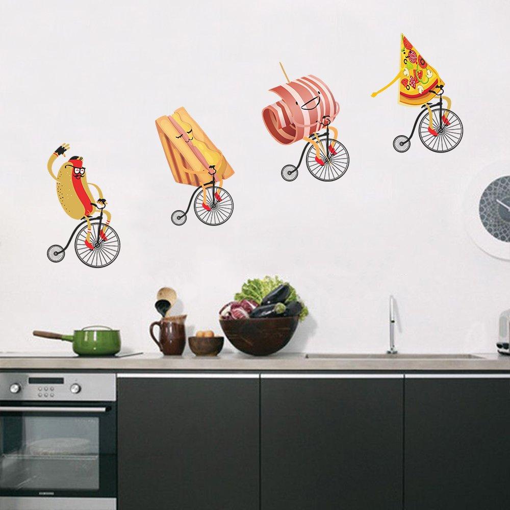 DecalMile Cucina Adesivi Murali Pizza Hot Dog Con Bicicletta ...