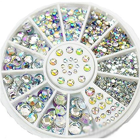 Nailart & Mehr - 450 strass in cristallo iridescente, rotondi, misure: 1,5 mm, 2 mm, 3 mm, 4 mm e 5