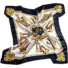 8840ea857c51 Echarpe Femme , Foulard Fille Court - Carré - Fleur Peinte - Satin de Soie  Imité