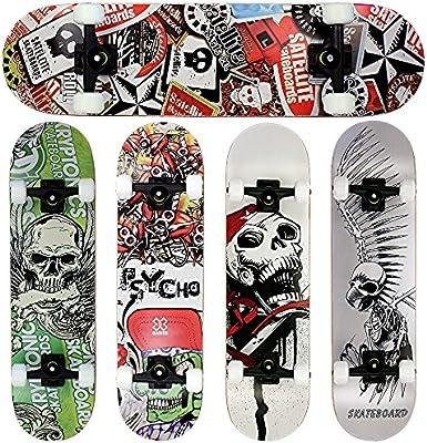 FunTomia® Skateboard monopatín FunTomia con rodamientos ABEC-11 y rodillos de dureza 100A - hecho con 7 capas de madera 100% arce canadiense