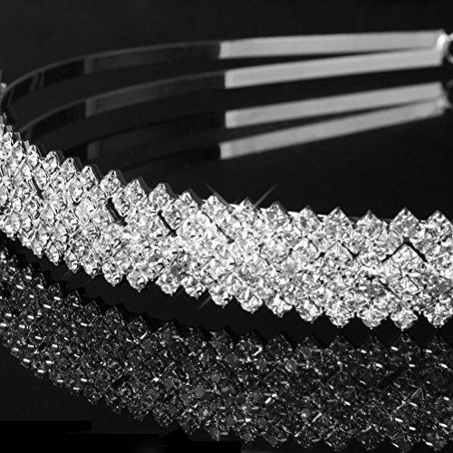 LEORX Boda del Rhinestone nupcial decorado Tiara diadema pelo Barrettes Hairband