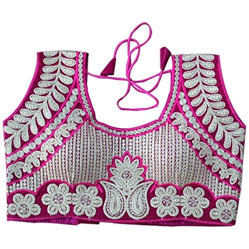 Ethnic Empire Pink Velvet Fully Stitched Heavy Designer Blouse For Women