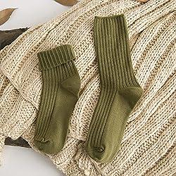 XIU*RONG Los Hombres Socks Socks 5Tamaño De Cilindro Doble (39-44)Verde Militar