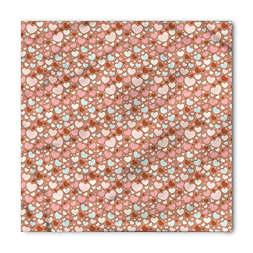 (TKMSH Love Square Scarf, Colorful Little Hearts,Bandana Head and Neck Tie Neckerchief Headdress Silk-Like 100% Polyester)