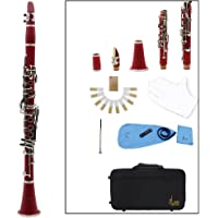 LADE Clarinet ABS 17 Key bB Flat Soprano Binocular Clarinet with Cleaning Cloth Gloves 10 Reeds Screwdriver Reed Case Woodwind Instrument (Red)