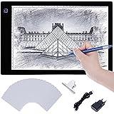 Tablette Lumineuse LED A4, Lictin Planche Dessin LED avec 1 Câble USB, 1 Adaptateur Chargeur EU, 50 A4 Copie Papiers et 1 Pince de La Planche à Dessin
