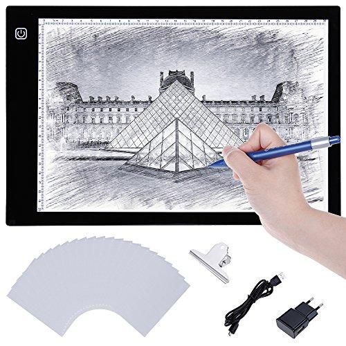 Lictin Tablette Lumineuse LED A4, Planche Dessin LED avec 1 Câble USB, 1 Adaptateur Chargeur EU, 50 A4 Copie Papiers et 1 Pince de La Planche à Dessin