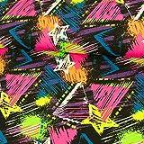 Baumwolljersey Graffiti Stern neon Kinderstoffe Grafiken