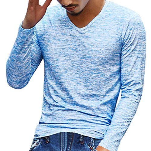 ZIYOU Herren Einfarbig Langarmshirts V-Ausschnitt Slim Fit Tops (XL, Blau)