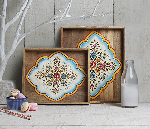 Store Indya Handmade Set of 2 Wooden Trays , Serving Tray ,...
