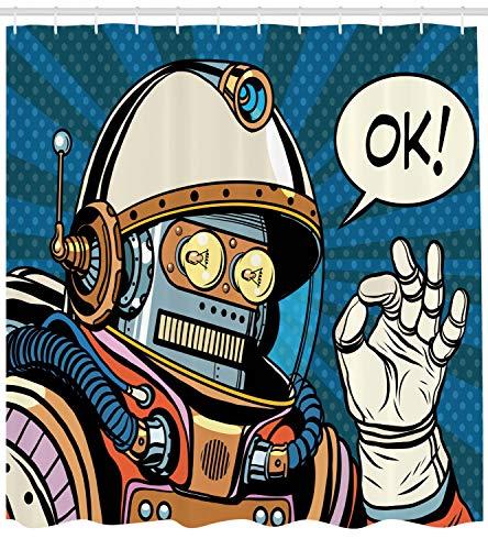 ABAKUHAUS Duschvorhang, Futuristische Comics Super Heros Roboter in Einem Raumanzug mit Ok Zitat Kunstwerk Design, Blickdicht aus Stoff inkl. 12 Ringe für Das Badezimmer Waschbar, 175 X 200 ()