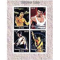 Bruce Lee 4 lotta pose - Mint e timbro minifoglio (Francobolli Fu)