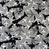 0,5m Jersey Flugzeuge grau 5% Elasthan 95% Baumwolle