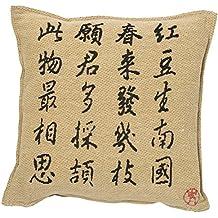 Rioma Colección Zen Funda de Cojín 45 X 45 cm, Algodón-Poliéster, Beige y Negro, Individual, 45 x 45 x 1 cm
