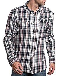Deeluxe 74 - Chemise stylé à carreaux navy et rouge pour homme