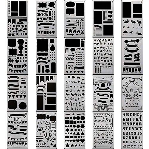 (stuffnew 20Stück Glas Ätzen Tagebuch Malvorlage Schablone, mit verschiedenen Mustern Buchstaben Scrapbooking Dekompression DIY Craft Halloween Weihnachten Geschenk, weiß)