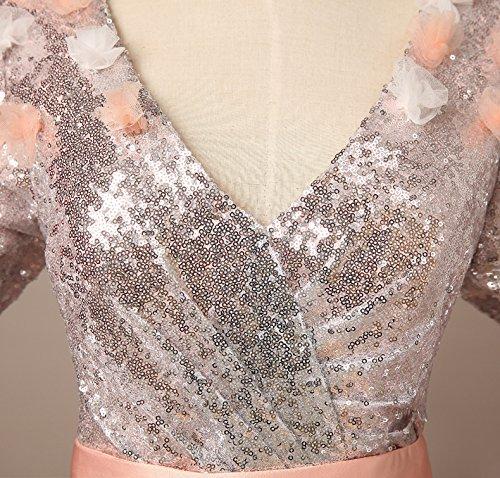 Bridal_Mall Damen mit Arm Ball Gown Abendkleider Lang Blumen Verzierung Sequined Promkleid Koralle