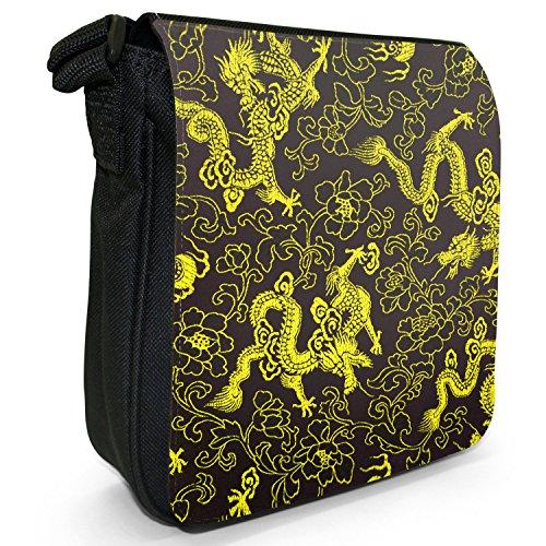 Chinesische Drachen Kleine Schultertasche aus schwarzem Canvas Chinesische Drachen Gelb