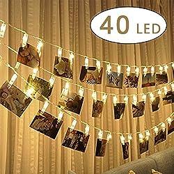 Foto Clip cadena de luces LED,5m 40 foto clips luces, Alimentado por Batería para Día de San Valentín, fiesta de cumpleaños (Blanco cálido)