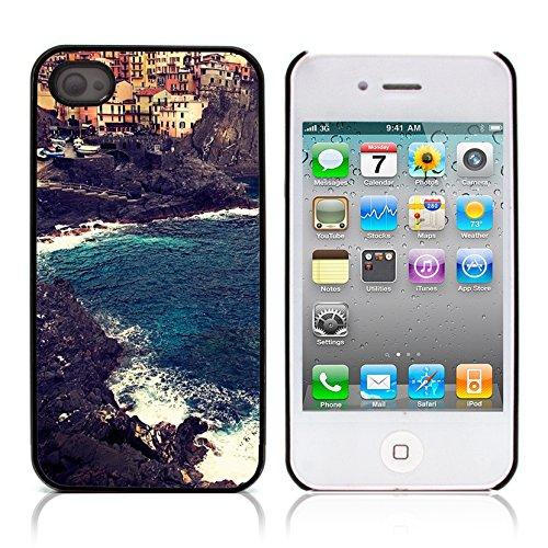 Graphic4You Manarola Italy Postkarte Ansichtskarte Design Harte Hülle Case Tasche Schutzhülle für Apple iPhone 4 und 4S Manarola