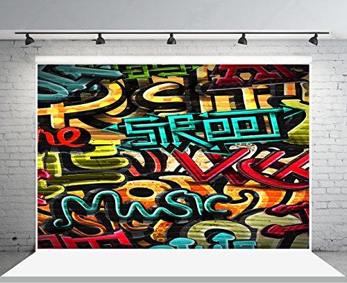 10x6.5 ft Microfiber Graffiti Fotografie Kulissen keine Falten Vintage 90er Jahre Stil Partei Photo Booth Requisiten Hintergrund