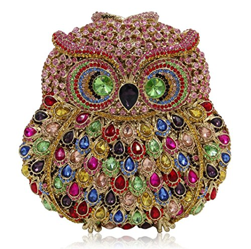 XYXM Frau Clutch Eule Luxus Handgefertigte Diamant Dinner Pack Hochwertige Crystal Full Drill Handtasche / Bankett Pack color
