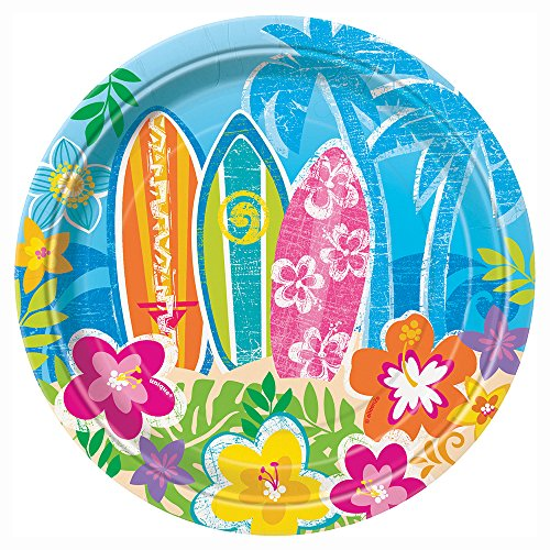 8-platos-de-papel-pequeos-Hula-Beach-Party-18-cm-One-Size