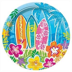 8 platos de papel pequeños Hula Beach Party 17.1 cm, 1 Pack of 8 unidades
