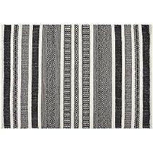 Creative carpets Alfombra Étnico, Lana, Blanco y Negro, 80 x 120 cm