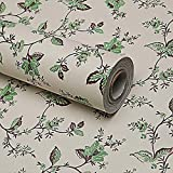 LoveFaye Brown & Green Leaf Self-Adhesive PVC Shelf and Drawer Liner,17.7-Inches by 9.8-Feet