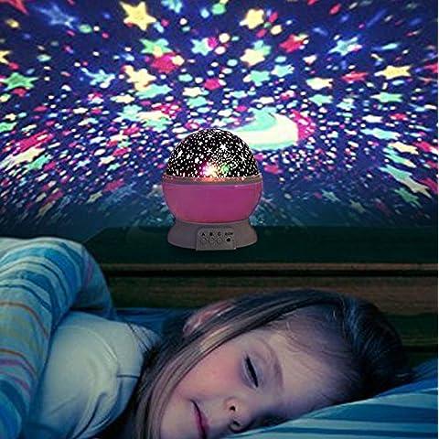 Liqoo® USB Luz de Noche Infantil Lámpara de Cielo Estrella Luna Luz de Noche Sobremesa Iiluminación de Ambiente Giratoria Regalos Recomendables (no incluidas) Color
